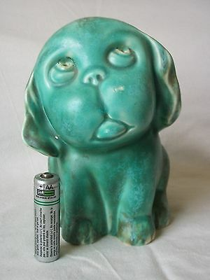 A Vintage / Old Green Boston Terrier Dog / Figure. Sylvac ?. Pottery.