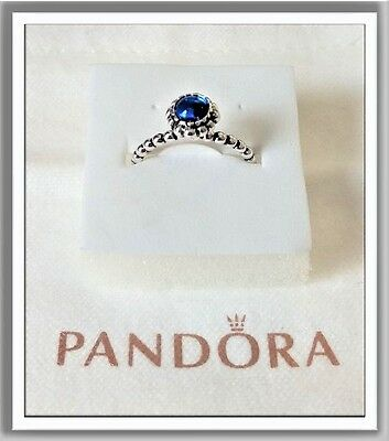 AUTHENTIC PANDORA Blooms Ring ALE S925 Sterling Silver Size 7 BLUE