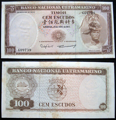 East Timor 100 Escudos 1963 Aunc With Tone Banknote (P28)