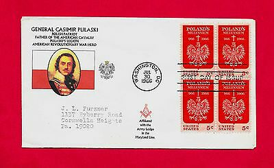 #1313 Fdc General Casimir Pulaski Polish Patriot Us Revolution Masonic