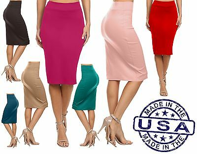 Simlu Sale Reg, and Plus Size Below Knee Pencil Skirt, Basic Skirt - Made in USA