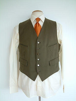 """1950's DOESKIN WAISTCOAT..40""""..BRASS & MOTHER OF PEARL BUTTONS..'SOLIDE' BUCKLE"""