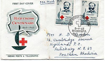 India 1963 Red Cross Centenary first day cover