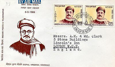 India 1966 Gopal Krishna Gokhale first day cover