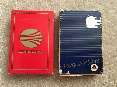 Vintage Continental And Delta Airlines Playing Cards Complete