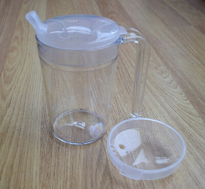 Adult Drinking Aid - Large handled cup - adult feeder beaker with lid and spout
