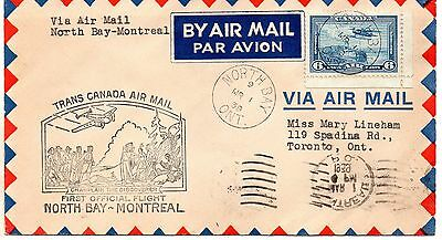 Trans Canada Air Mail first flight cover North Bay to Montreal