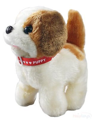 Haktoys Toy Puppy – Battery Operated Walking Barking & Tail Wagging Plush Dog