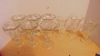 Vintage Ice Cream Parlor Tulip Sundae Glasses-6 Large-3 Smaller-Anchor Hocking
