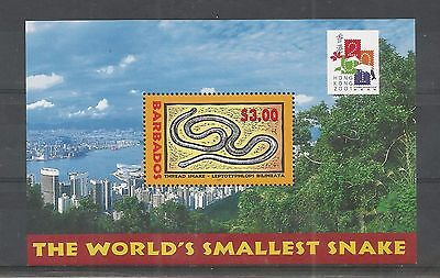 "Barbados 2001 Hong Kong ""2001"" Stamp Ex Minisheet Sg,ms1179 Um/m Nh Lot 2730A"
