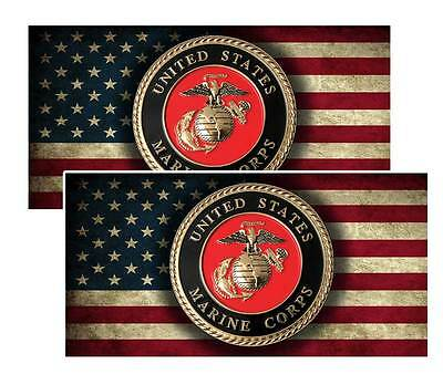 Vinyl United States Marine Corp Emblem Decal - Pack of Two