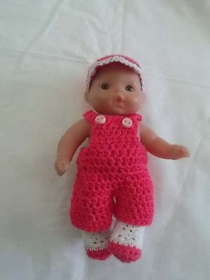 doll clothes fits 5 inch itsy baby pink overalls and hat shoes