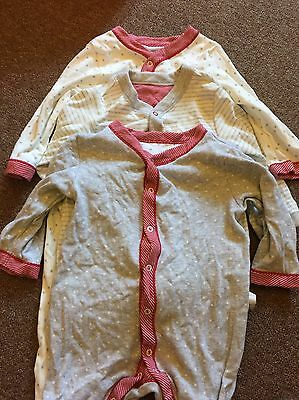 3 M&S Sleepsuits 9-12 Months