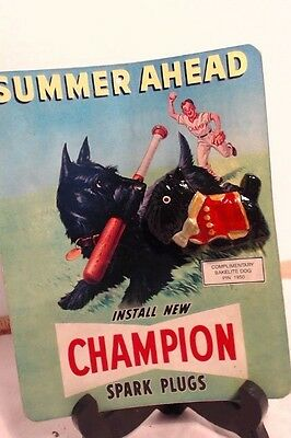 Collectible Champion Spark Plugs Advertisement with Bakelite Scottie Pin