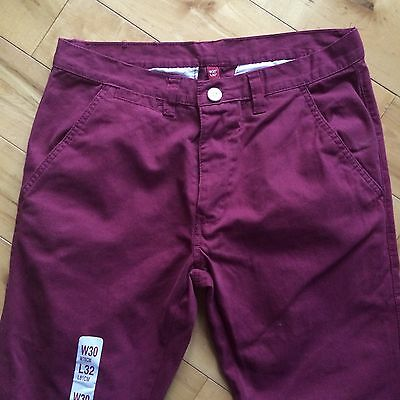 Mens Plum Chino Trousers W30 L32