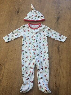 brand new Christmas baby sleepsuit onesie with hat 0-3 months Xmas gift novelty