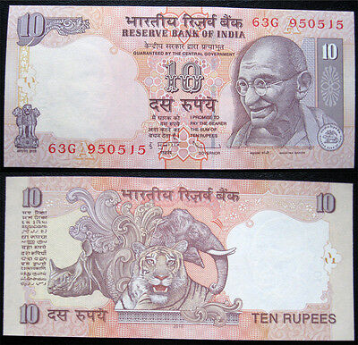 India 10 Rupees 2010 Tiger & Ghandi Unc Banknote (P89)