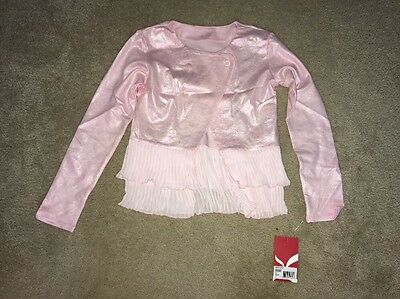 Capezio Big Girls Overlapping Pleated Jacket Ballet Pink Size Medium NWT