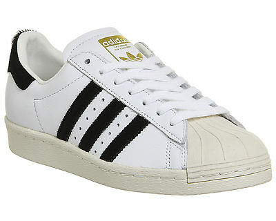 Womens Adidas Superstar 80s WHITE BLACK PONY Trainers Shoes