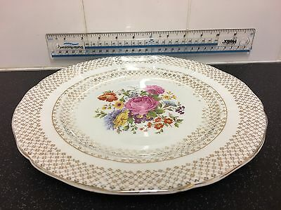 Vintage Imperial Bone China 10 inch, Plate with Floral Pattern & 22 KT Gold.