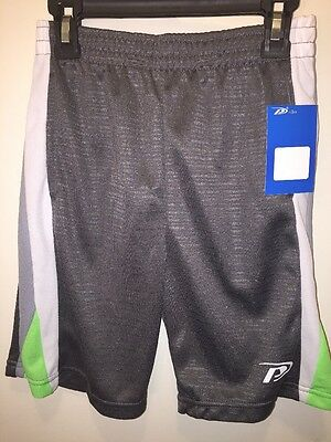 NWT Proplayer Boys Basketball Shorts Gray With Lime Green Size 6/7
