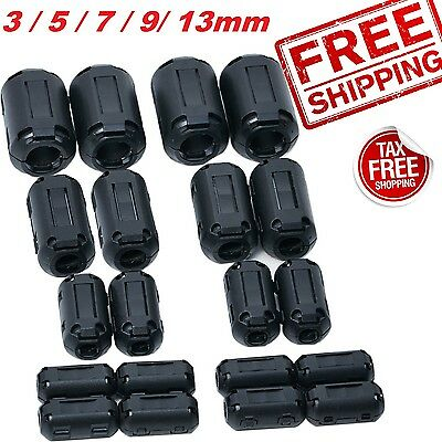 20pcs Ferrite Core Ring Bead Clamp Choke Coil EMI RFI Noise Filter ClipOn 5 Size