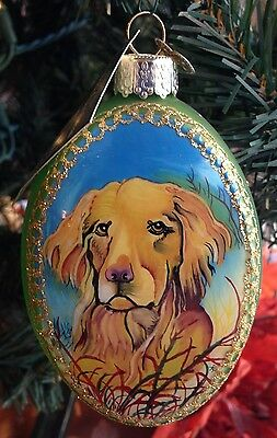 Merck Family's Old World Christmas Inside Art Glass Ornament #99006 Retriever