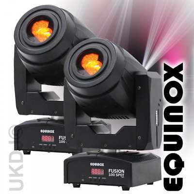 2 x Equinox Fusion Spot 100 High Output 80w LED DMX Moving Head 3 Facet Prism