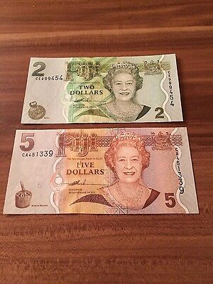 Fidschi/Fiji 2 and 5 Dollars unc Queen Elizabeth