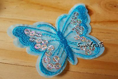 Sequin Embroidered Butterfly Iron on Patch Applique Motif Badge - BLUE 7.5cm