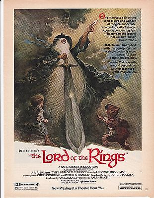 1979 full page ad JRR Tolkien's The Lord of the Rings Ralph Bakshi animated film
