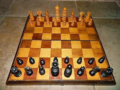 Very Rare Victorian Button Down St. George Chess Set With Box & Folding Board