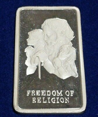 Wittnauer Freedom of Religion 1000 grains 2.08ozt 999 Fine Silver Bar with Box