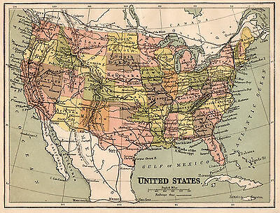 Map of United States America 1890s  Original Antique