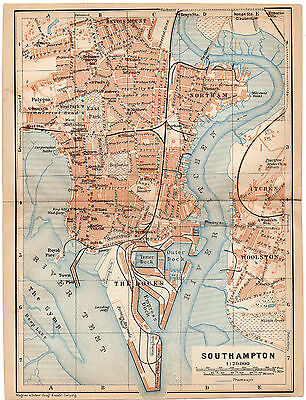 SOUTHAMPTON 1906 old antique map