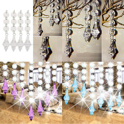10x Acrylic Crystal Beads Garland Chandelier Hanging Curtain Wedding Party Decor