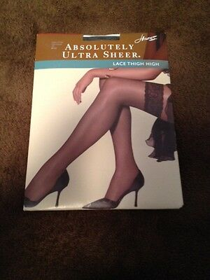 One Pair Vintage Hanes Lace Thigh High Stockings Size Small, Color Jet Black