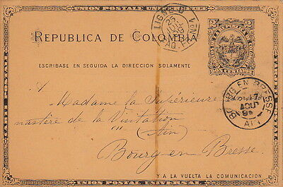 Lettre Colombia Entier Postal Ligne U PAQ FR n°1 Barranquilla France Cover Brief
