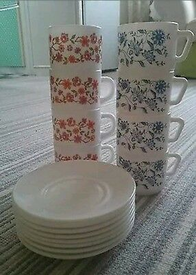 8 x Vintage Retro Scania Floral Pattern Arcopal Pyrex Cups & Saucers