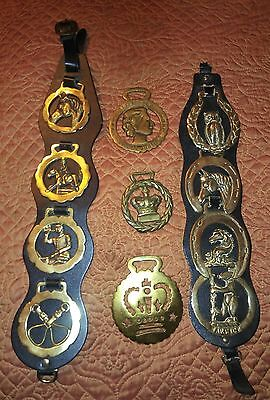Vintage Horse Brass Equestrian Leather Harness Strap 11 Medallions
