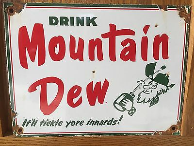 Mountain Dew Tickle Porcelain Soda Pop Sign Vintage Pepsi not Coca Cola or 7up