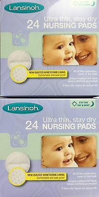 2 x Lansinoh Nursing Pads x 24 Stay Dry Ultra Thin Fits All Breast Sizes