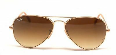 Ray Ban RB 3025 112/85 55mm Matte Gold Brown Gradient Lens Aviator Sunglasses
