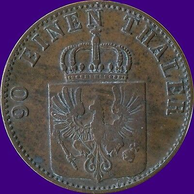 "1867 'A' Germany ""Prussia"" 4 Pfenninge Coin"