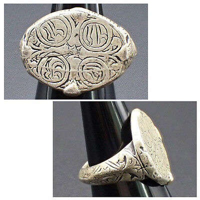 Medieval times Ancient Language Writing Silver Plated Ring #733