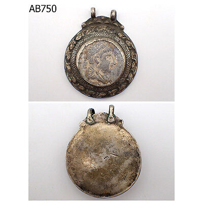Very Old Caesar King Face Coin Persian Silver Mix Decorated Pendant #750