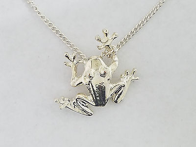 Sterling Silver Tree Frog Pendant & Chain  - 4870