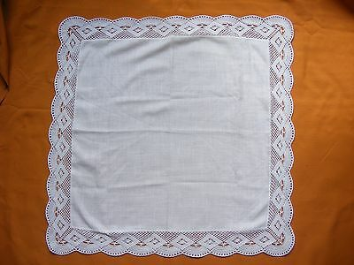 "Vintage  Beautiful  Tablecloth  w/  Crochet Lace - 27.4"" x 27.4"""