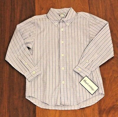 Hartstrings Blue Plaid Button Front Long Sleeve Oxford Shirt Boys 6 Cotton NEW