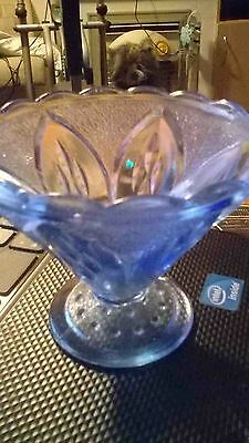 Vintage Small light blue glass Sugar / Sweet Bowl 3""